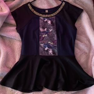 Mana Black Bejeweled Peplum Short Sleeve Top Sz M